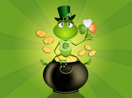 frog with Irish clover in St  Patrick s Day Stock Photo