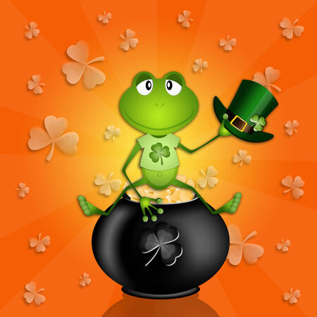 st paddy s day: frog sitting on a pot with money for St  Patrick Stock Photo