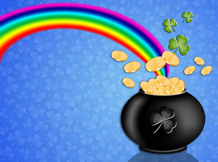 st paddy s day: money on pot with rainbow for St  Patrick