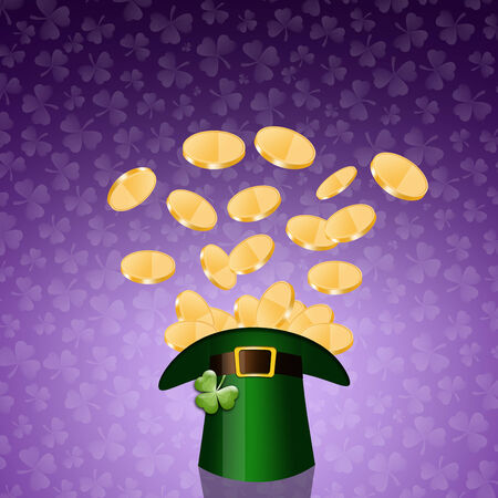 st paddy s day: money on hat in St Patrick Day Stock Photo