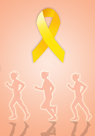 endometrium: Endometriosis march with yellow ribbon