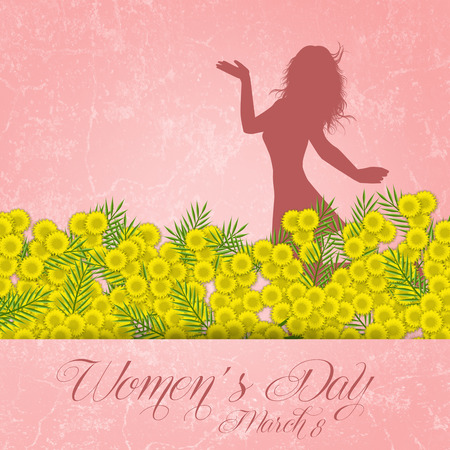 fraue: Mimosen Blume für Womens Day