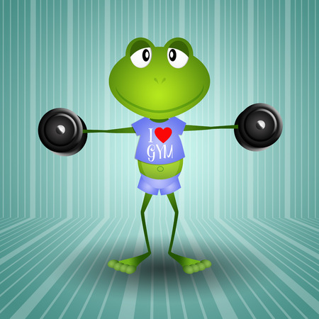 illustration of frog weightlifting in the gym