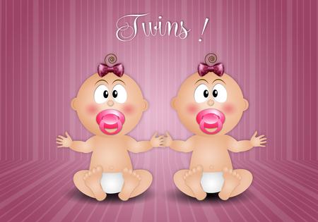 ni�as gemelas: Postal reci�n nacido con dos gemelas