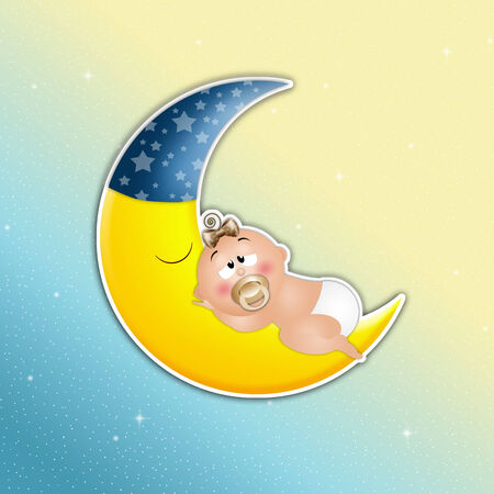 Sleeping baby on the moon in night photo