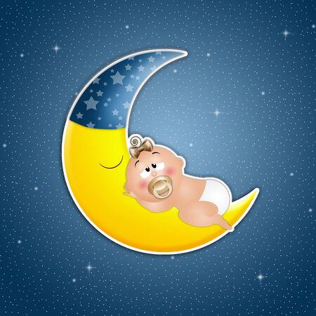 Baby asleep on the moon in the night photo
