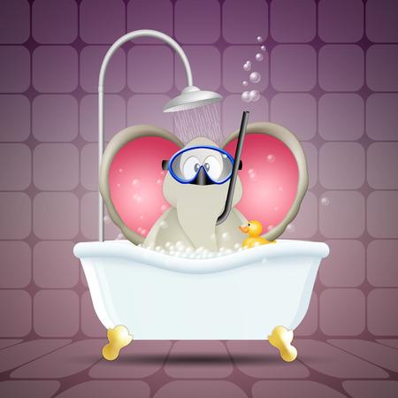 bathe mug: Elephant with diving mask on bath Stock Photo