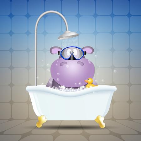 bathe mug: Hippo with diving mask on bath Stock Photo