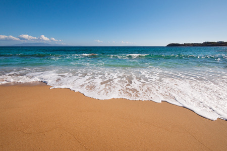 Paradise beach in Mykonos city, Greece Stock Photo