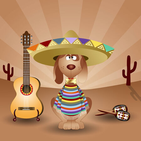 musca: Mexican dog with guitar and maracas