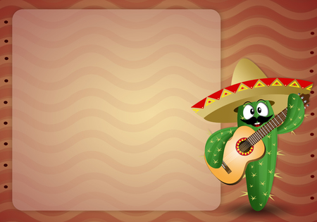 cactus with sombrero and guitar photo