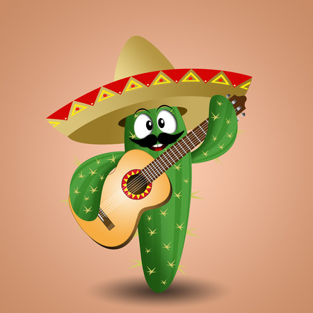 musca: cactus with sombrero and guitar
