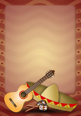 musca: Guitar with sombrero and maracas