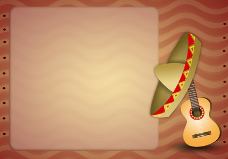 musca: Guitar with mexican sombrero