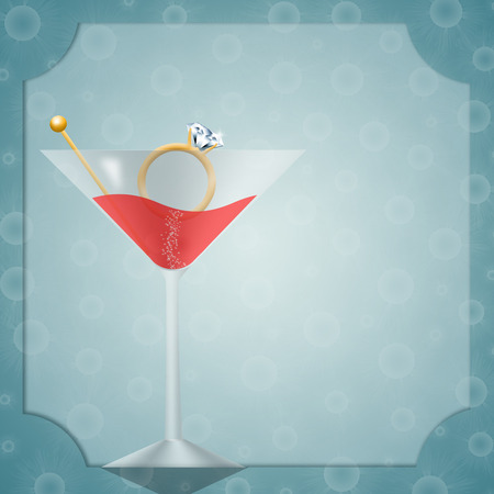 bachelorette: Invitation for bachelorette party with drink