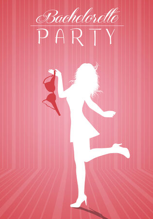 bachelorette: Bachelorette party with woman silhouette Stock Photo