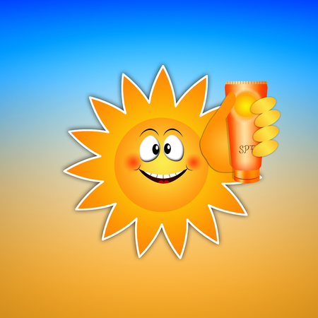 sun lotion: Funny sun with sun lotion