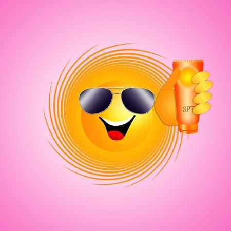Funny sun with sunscreen