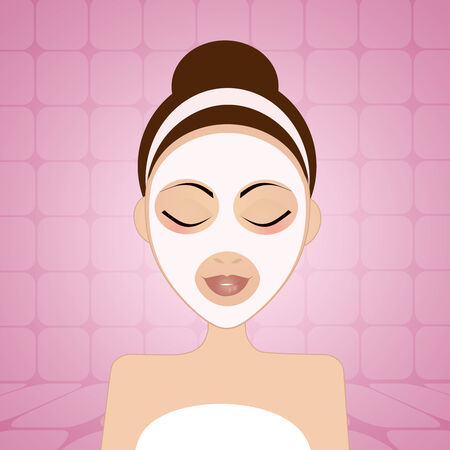 beauty mask: Woman with beauty mask