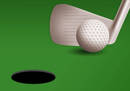 golf iron: golf iron with ball on the green