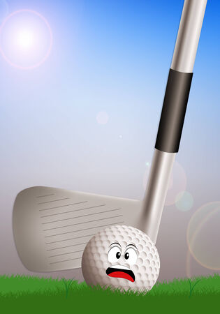 golf iron with scared ball