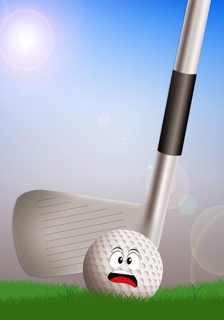 golf iron: golf iron with scared ball