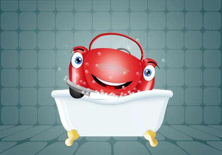 Funny car in bath for car washing photo
