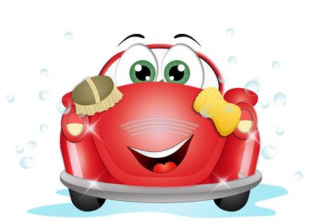 Funny car at car wash Stock Photo