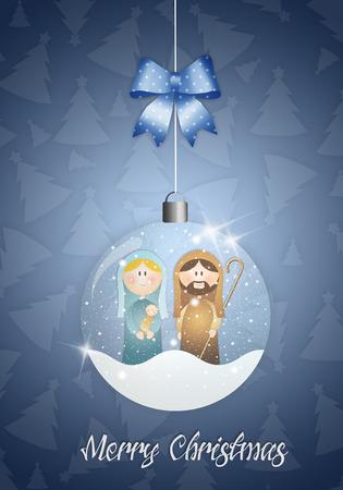 Christmas ball with Nativity scene photo