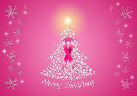 Christmas tree with pink ribbon photo