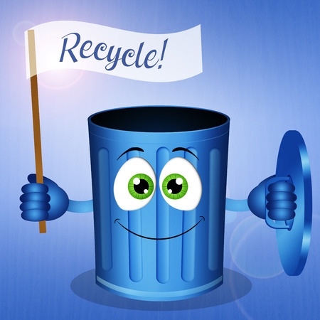 echo: Funny blue garbage bin for recycling Stock Photo