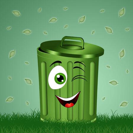 Funny green garbage bin in the grass