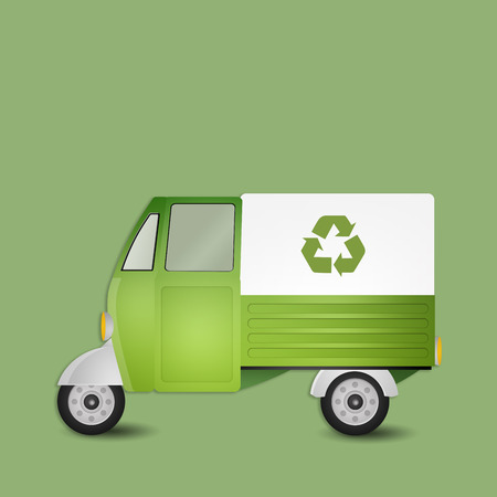 Green van for recycling photo
