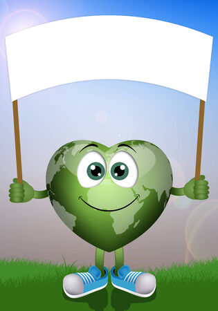 Funny green earth for ecology photo
