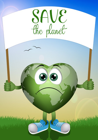 globe in the shape of heart for ecology photo