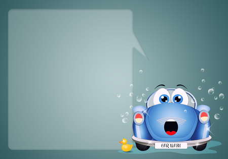 funny car: illustration of a funny car at car washing Stock Photo