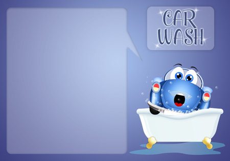 illustration of a funny car at car washing illustration