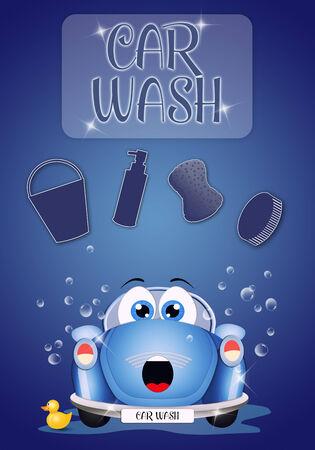 nice illustration of car at car washing illustration