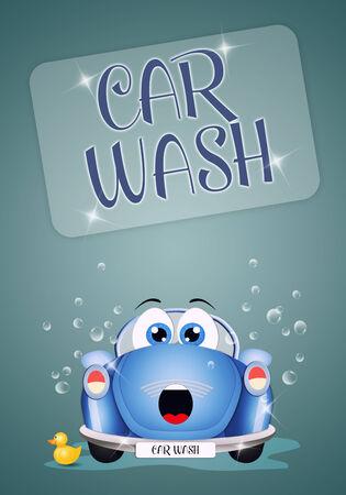illustration of funny car at car wash illustration