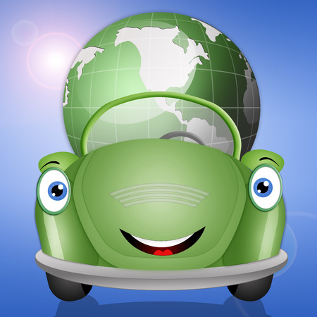 echo: Ecological green car with earth Stock Photo