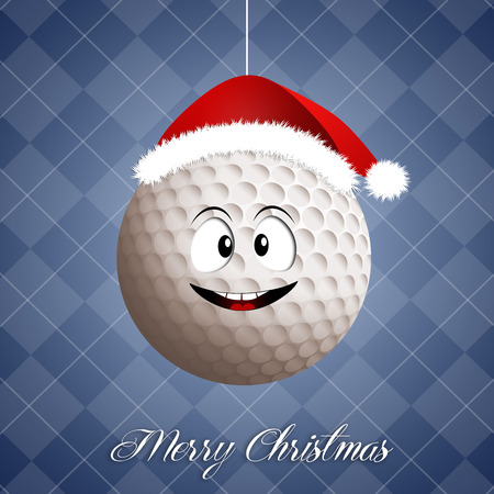 christmas golf: Funny golf ball with Santa Stock Photo