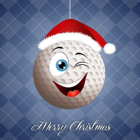 christmas golf: Funny golf ball for Christmas Stock Photo