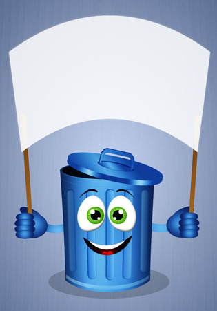 recyclable: Funny blue garbage bin for recycling Stock Photo