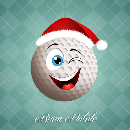 christmas golf: Funny golf ball for Christmas Stock Photo
