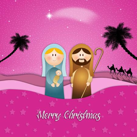 Nativity scene for Merry Christmas photo