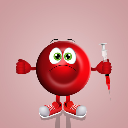hemoglobin: Red blood cell with syringe