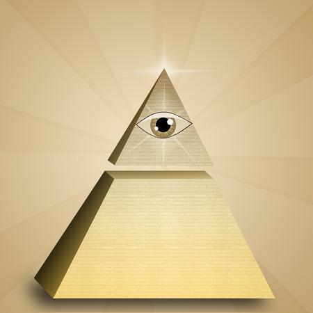 iluminados: Ojo de la Providencia en la pirámide Foto de archivo