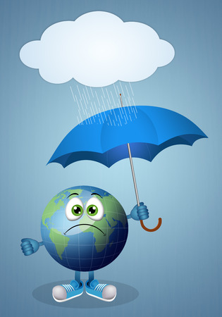 atmospheric phenomena: Funny earth with umbrella for rainy day Stock Photo