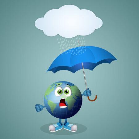 natural phenomenon: Funny earth with umbrella for rainy day Stock Photo