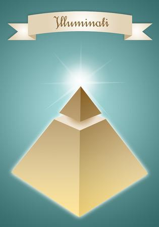 secret society: Pyramid of Enlightened group Stock Photo